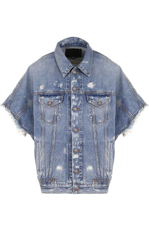 Купить Джинсовая куртка свободного кроя с потертостями R13, R13W7049-255, Италия, Синий, Хлопок: 100%;