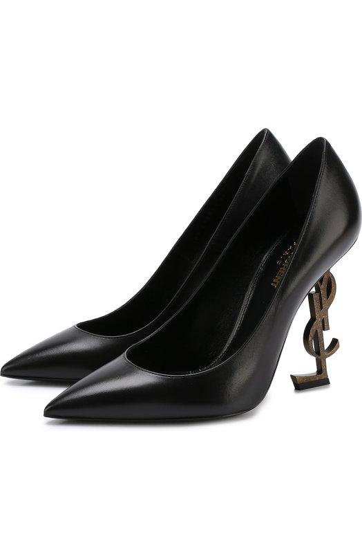 Купить Кожаные туфли Opyum на фигурной шпильке Saint Laurent, 472011/AKPTT, Италия, Черный, Кожа натуральная: 100%; Стелька-кожа: 100%; Подошва-кожа: 100%;