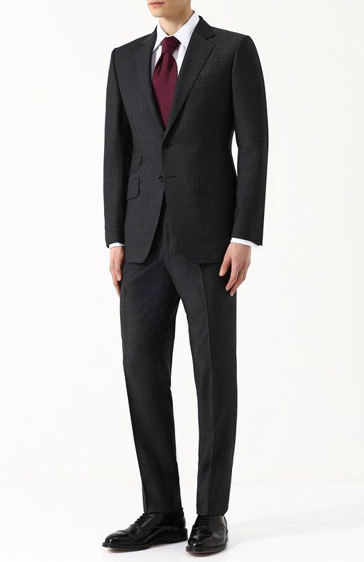 Купить Шерстяной костюм с пиджаком на двух пуговицах Tom Ford, 322R80/21YA4C, Швейцария, Темно-серый, Подкладка-шелк: 50%; Подкладка-купра: 50%; Шерсть: 100%;