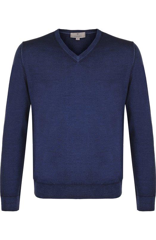 Купить Пуловер тонкой вязки из смеси шерсти и шелка Canali, C0481/MK00514, Италия, Темно-синий, Шерсть: 70%; Шелк: 30%;