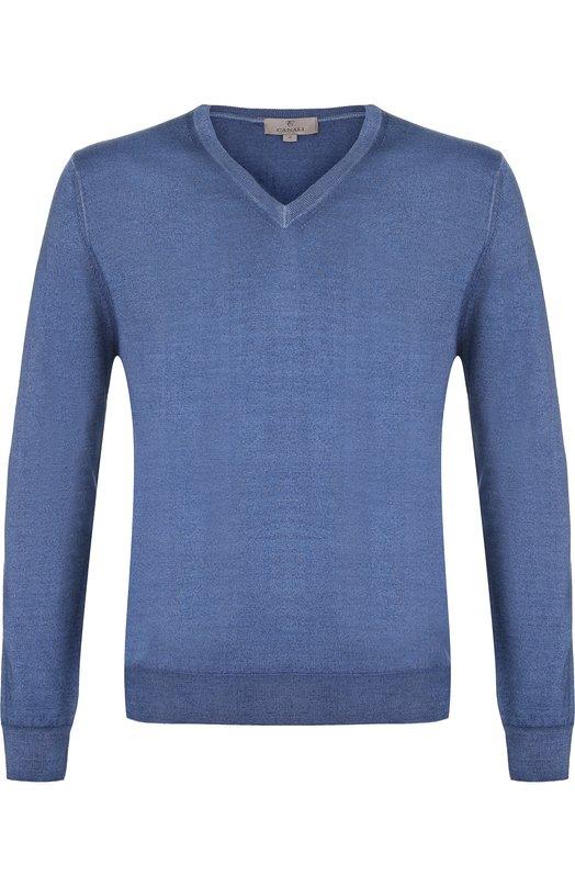Купить Пуловер тонкой вязки из смеси шерсти и шелка Canali, C0481/MK00514, Италия, Голубой, Шерсть: 70%; Шелк: 30%;