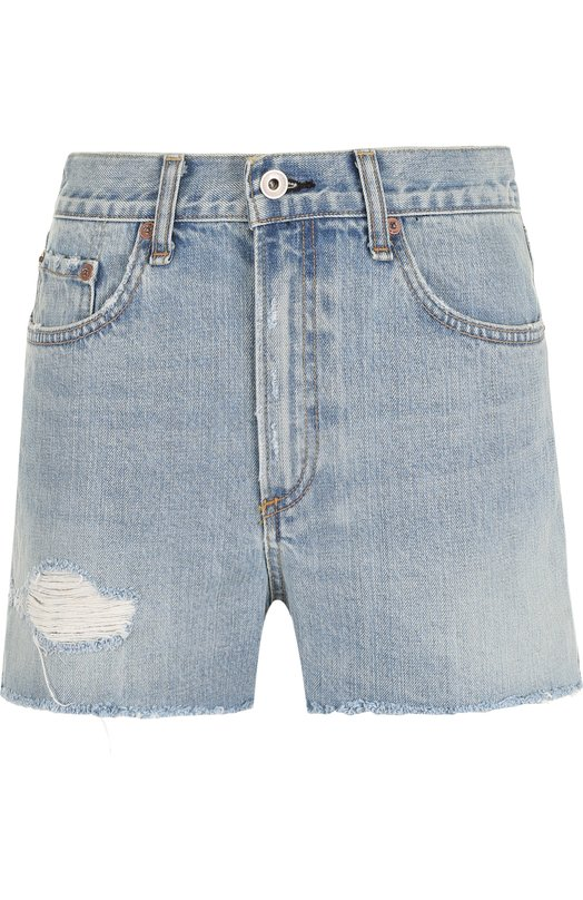 Купить Джинсовые мини-шорты с завышенной талией и потертостями Rag&Bone, W1953K165DUF, США, Голубой, Хлопок: 100%;