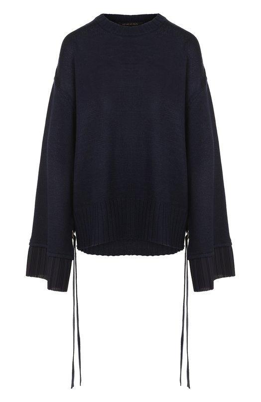 Купить Однотонный пуловер свободного кроя с круглым вырезом Mother Of Pearl, 3467 A NASH, Китай, Темно-синий, Шерсть: 50%; Акрил: 50%;
