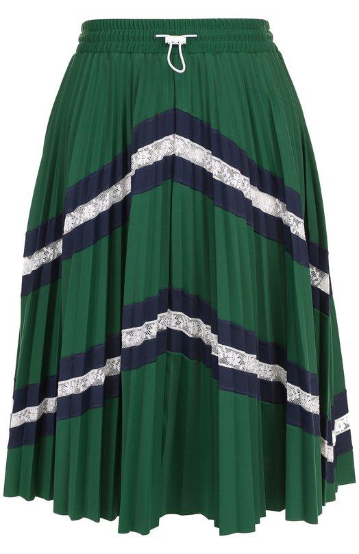 Купить Плиссированная мини-юбка с кружевными вставками Valentino, PB3MD00F/3UJ, Италия, Зеленый, Отделка-хлопок: 91%; Отделка-полиамид: 9%; Полиамид: 80%; Эластан: 20%;