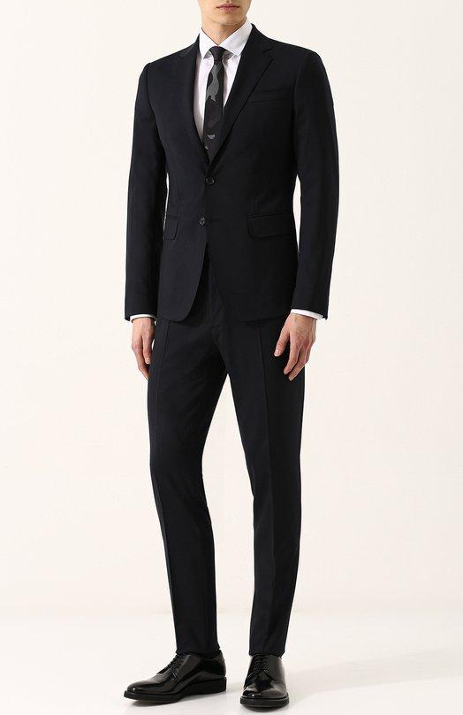 Купить Шерстяной костюм с пиджаком на двух пуговицах Dsquared2, S74FT0318/S40320, Италия, Темно-синий, Шерсть: 95%; Эластан: 5%; Подкладка-полиэстер: 100%;