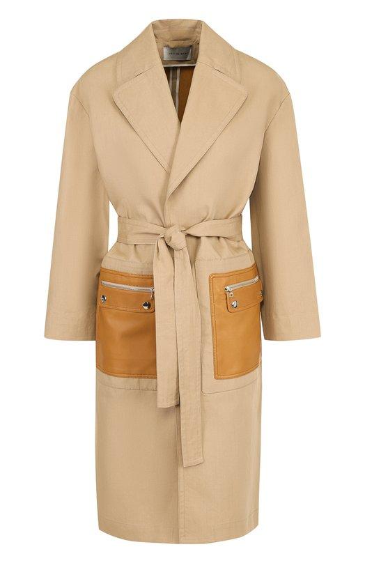 Хлопковое однотонное пальто с кожаными карманами Yves Salomon Yves Salomon