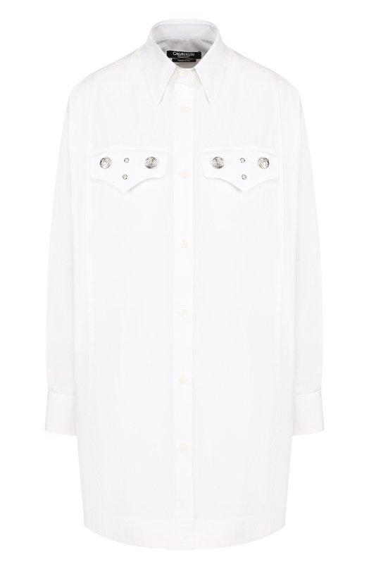 Купить Удлиненная хлопковая блуза свободного кроя CALVIN KLEIN 205W39NYC, 81WWTB26/C111W, Италия, Белый, Хлопок: 100%;