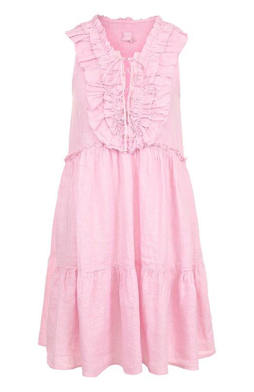 Купить Льняное мини-платье свободного кроя с оборками 120% Lino, N3W4806/B317/000, Болгария, Розовый, Лен: 100%;
