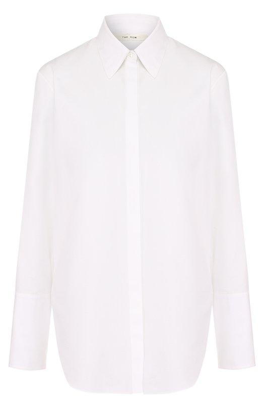 Купить Однотонная хлопковая блуза прямого кроя The Row, 3755AW1077/3755AW1017, США, Белый, Хлопок: 100%;
