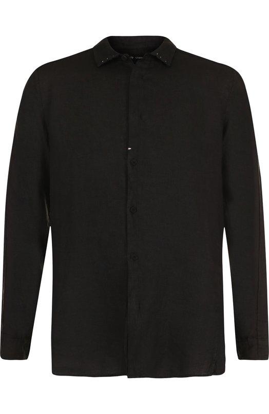 Купить Льняная рубашка с воротником акула Transit, CFUTREW320, Италия, Черный, Лен: 100%;