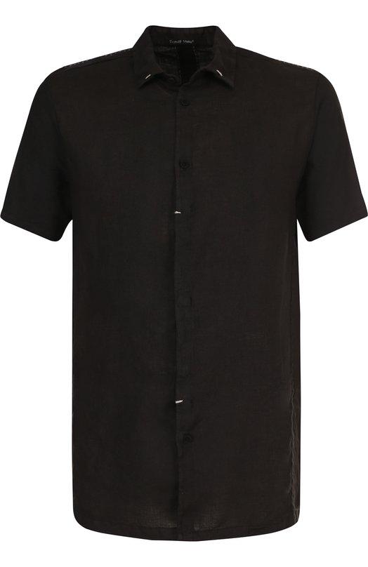 Купить Рубашка с короткими рукавами из смеси льна и хлопка Transit, CFUTREW322, Италия, Черный, Лен: 90%; Хлопок: 10%;