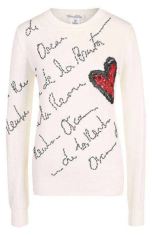 Шерстяной пуловер с отделкой в виде сердца и логотипом бренда Oscar de la Renta, 18SE147SLL, Италия, Белый, Шерсть меринос: 100%;  - купить