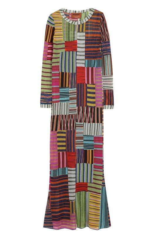 Купить Приталенное вязаное платье-макси Missoni, E18.MD.210740, Италия, Разноцветный, Шелк: 96%; Купра: 45%; Эластан: 4%; Вискоза: 30%; Полиэстер: 25%;