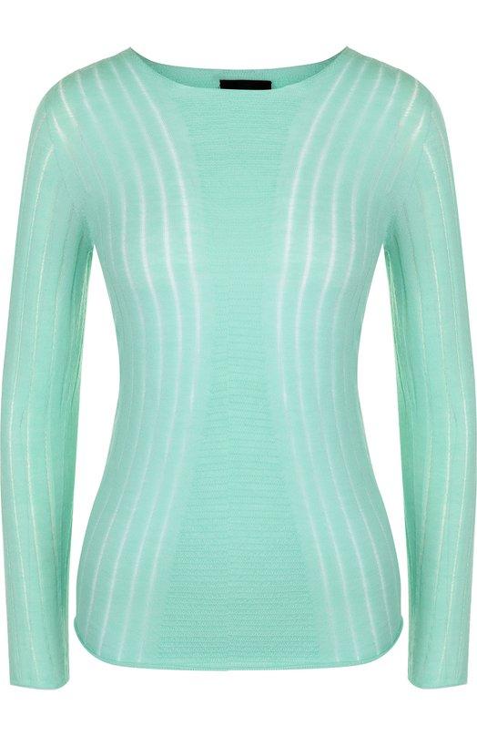 Купить Приталенный кашемировый пуловер с круглым вырезом Giorgio Armani, 3ZAM20/AM31Z, Италия, Зеленый, Кашемир: 100%;