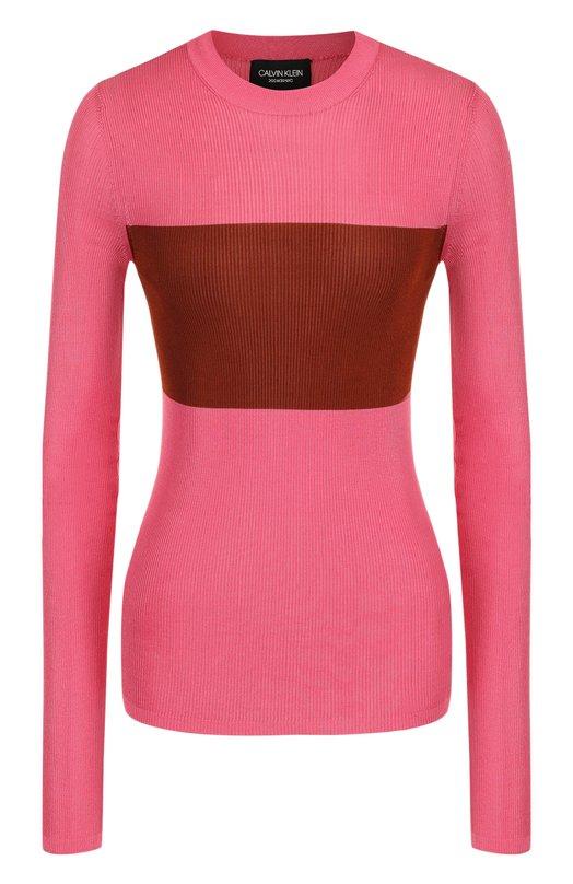 Купить Приталенный шелковый пуловер с круглым вырезом CALVIN KLEIN 205W39NYC, 81WKTB68/K121, Италия, Разноцветный, Шелк: 100%;