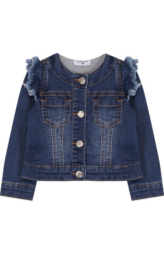 Купить Укороченная джинсовая куртка с оборками и пайетками Monnalisa, 191101R4, Китай, Синий, Хлопок: 90%; Полиэстер: 9%; Эластан: 1%;