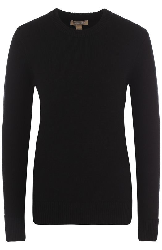 Купить Однотонный кашемировый пуловер с круглым вырезом Michael Kors Collection, KRK/648AKK976, Китай, Черный, Кашемир: 100%;