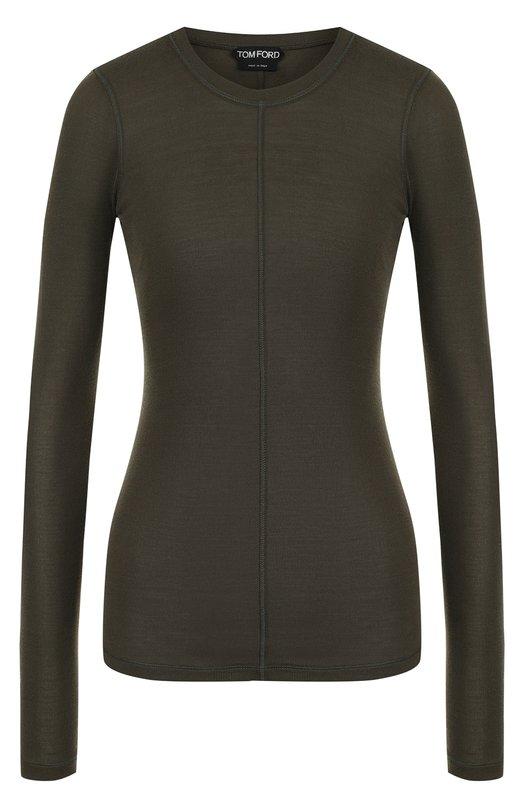 Купить Приталенный шелковый пуловер с круглым вырезом Tom Ford, TSJ196-FAX290, Италия, Хаки, Шелк: 100%;