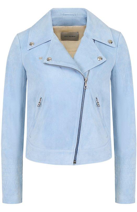 Купить Укороченная замшевая куртка с косой молнией Yves Salomon, YE48550AVSY, Франция, Голубой, Подкладка-шелк: 100%; Замша натуральная: 100%;