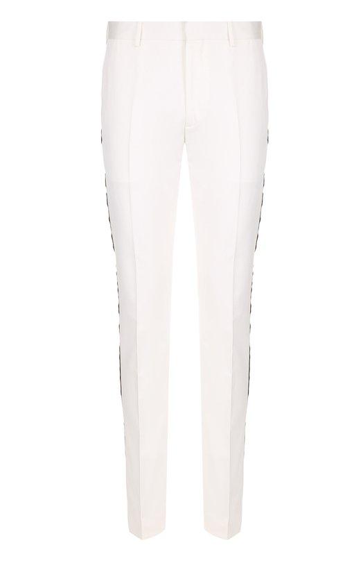 Купить Хлопковые брюки прямого кроя с контрастными лампасами CALVIN KLEIN 205W39NYC, 81MWPA12/C163, Италия, Белый, Хлопок: 100%;