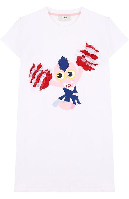 Хлопковая футболка с принтом и бахромой Fendi