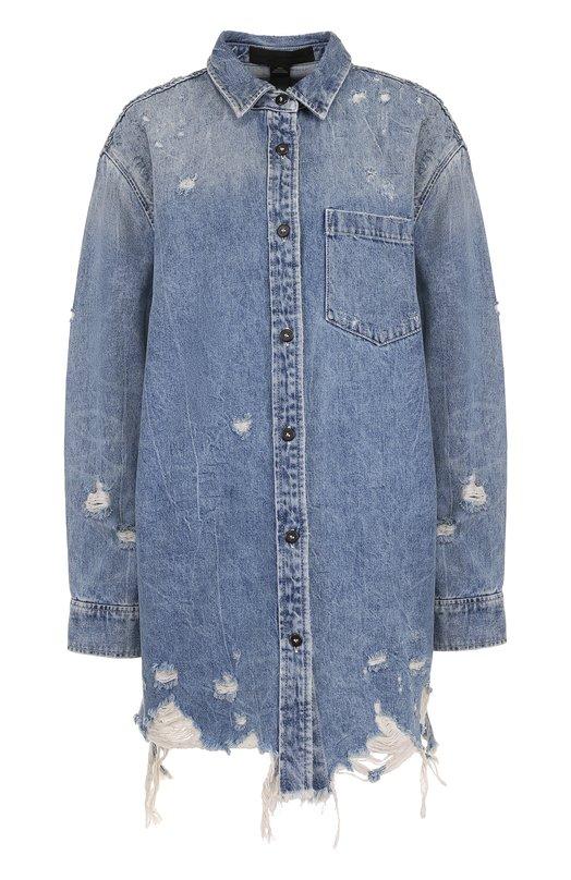 Купить Удлиненная джинсовая куртка свободного кроя с потертостями Denim X Alexander Wang, 4D991107B0, Турция, Синий, Хлопок: 100%;