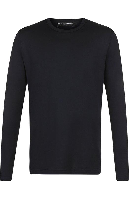 Купить Хлопковый лонгслив с круглым вырезом Dolce & Gabbana, G8GX6T/FU7EQ, Италия, Темно-синий, Хлопок: 100%;