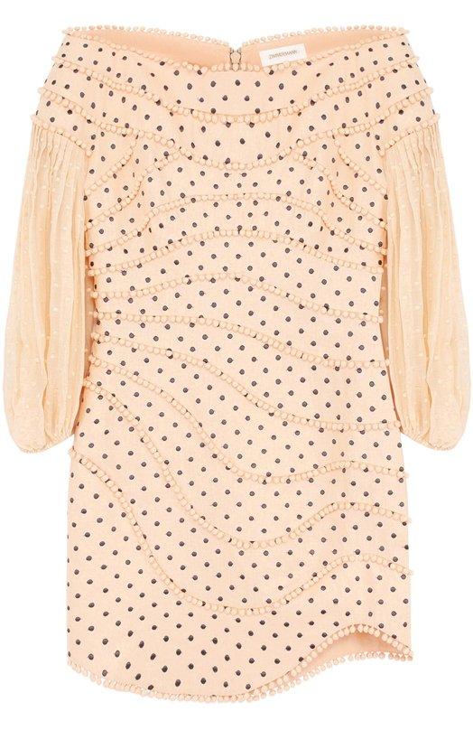 Льняное мини-платье с укороченным рукавом и открытыми плечами Zimmermann