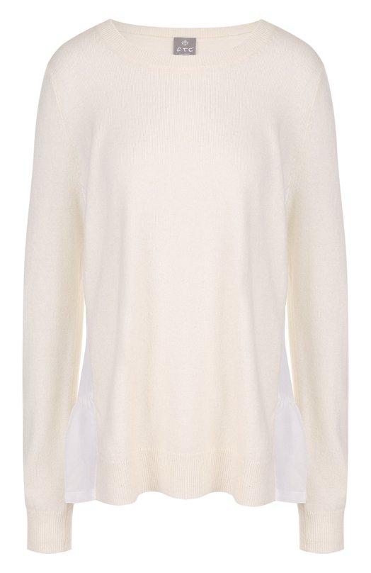 Купить Однотонный кашемировый пуловер с круглым вырезом FTC, 700-0700, Китай, Белый, Кашемир: 100%;