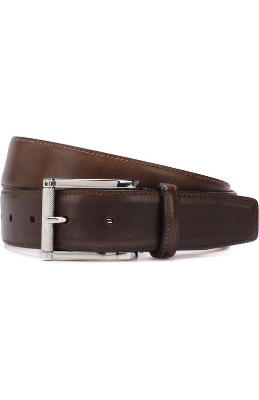 Купить Кожаный ремень с металлической пряжкой Santoni, CM35V0003A47E0BRS55, Италия, Темно-коричневый, Кожа натуральная: 100%; Пряжка-мет.сплав: 100%;