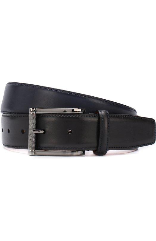 Купить Кожаный ремень с металлической пряжкой Santoni, CM35V0003A47G0BRU59, Италия, Темно-синий, Кожа натуральная: 100%; Пряжка-мет.сплав: 100%;
