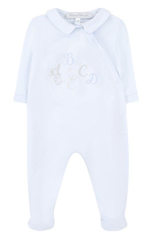 Купить Хлопковая пижама с вышивкой Tartine Et Chocolat, TL54061, Португалия, Голубой, Хлопок: 100%;