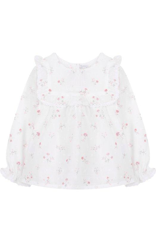 Купить Хлопковая блуза с принтом и оборкой Tartine Et Chocolat, TL12001, Португалия, Белый, Хлопок: 100%;