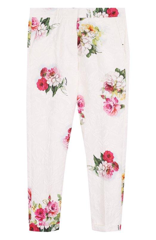 Купить Зауженные брюки с принтом Simonetta, 1I6151/IB940/7-10, Албания, Белый, Ацетат: 75%; Вискоза: 25%;
