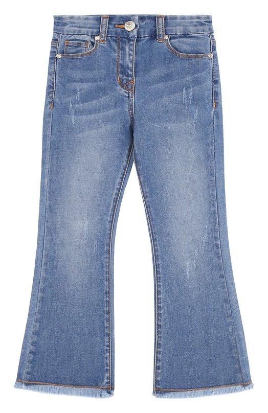 Купить 171402, Расклешенные джинсы и потертостями Monnalisa, Китай, Голубой, Хлопок: 88%; Полиэстер: 10%; Эластан: 2%; Подкладка-хлопок: 100%;, Женский, Джинсы