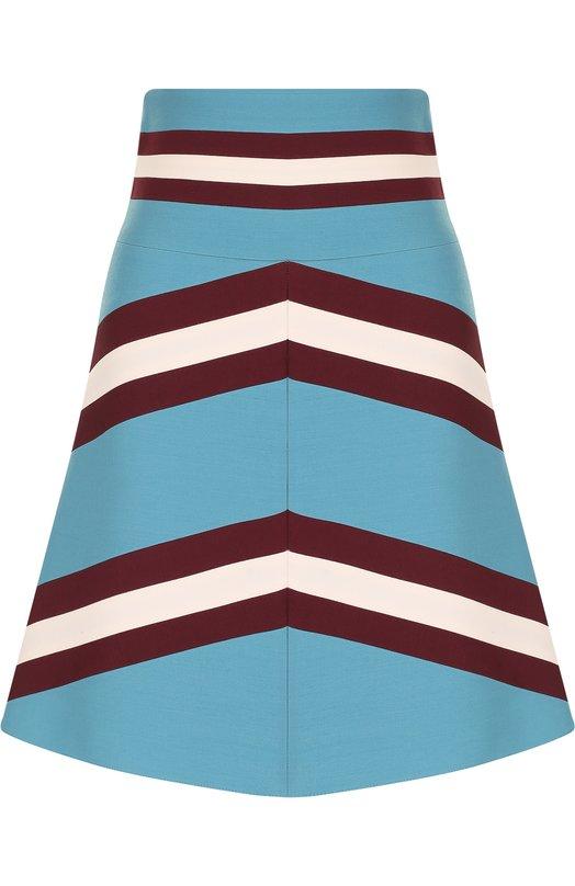 Купить Мини-юбка из смеси шерсти и шелка Valentino, PB3RA3D5/1CF, Италия, Голубой, Шерсть овечья: 65%; Шелк: 35%; Подкладка-шелк: 100%;