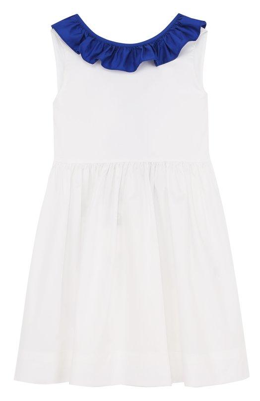 Приталенное платье из хлопка с контрастной оборкой и бантом Il Gufo