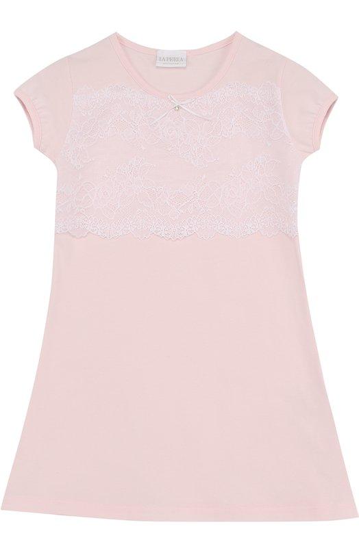 Купить Хлопковая сорочка с кружевной отделкой La Perla, 51723/2A-6A, Италия, Розовый, Хлопок: 90%; Эластан: 10%;