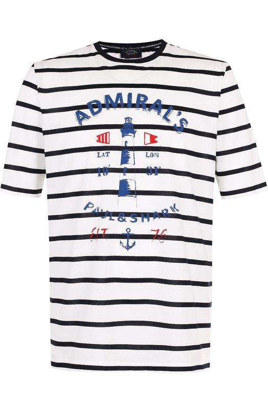 Купить Хлопковая футболка в контрастную полоску с принтом Paul&Shark, E18P1052, Италия, Белый, Хлопок: 100%;
