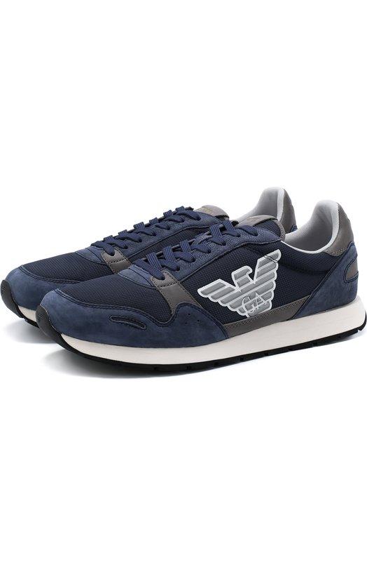 Купить Комбинированные кроссовки на шнуровке Emporio Armani, X4X215/XL199, Вьетнам, Синий, Кожа натуральная: 100%; Подошва-резина: 100%; Текстиль: 100%; Стелька-текстиль: 100%;
