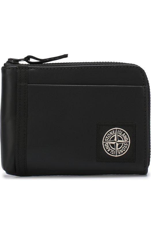 Купить Кожаное портмоне на молнии с отделениями для кредитных карт Stone Island, 681590979, Италия, Черный, Кожа натуральная: 100%;