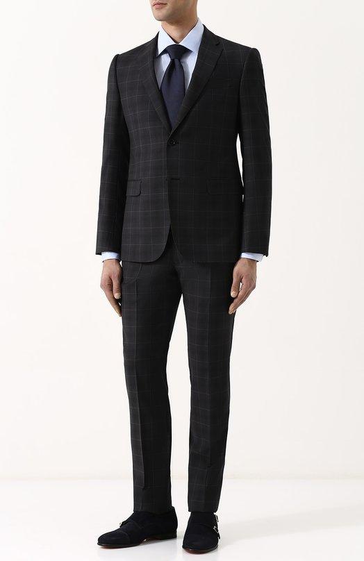 Купить Шерстяной костюм с пиджаком на двух пуговицах Emporio Armani, W1VMEB/W1656, Болгария, Темно-серый, Подкладка-вискоза: 50%; Подкладка-ацетат: 50%; Шерсть: 100%;