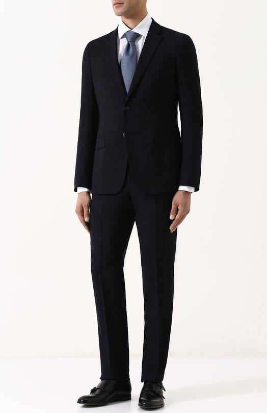 Купить Шерстяной костюм с пиджаком на двух пуговицах Emporio Armani, W1VS5T/01501, Болгария, Темно-синий, Подкладка-ацетат: 68%; Подкладка-полиэстер: 32%; Шерсть: 100%;
