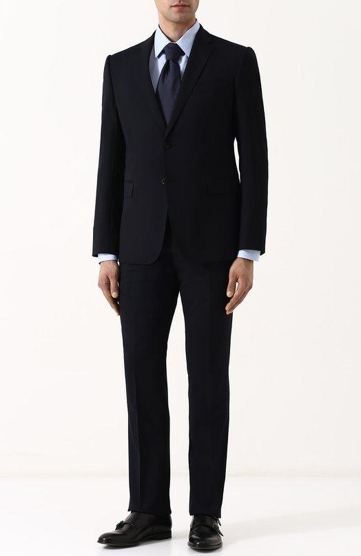 Купить Шерстяной костюм с пиджаком на двух пуговицах Emporio Armani, W1VMEB/W1619, Болгария, Темно-синий, Подкладка-вискоза: 50%; Подкладка-ацетат: 50%; Шерсть: 100%;