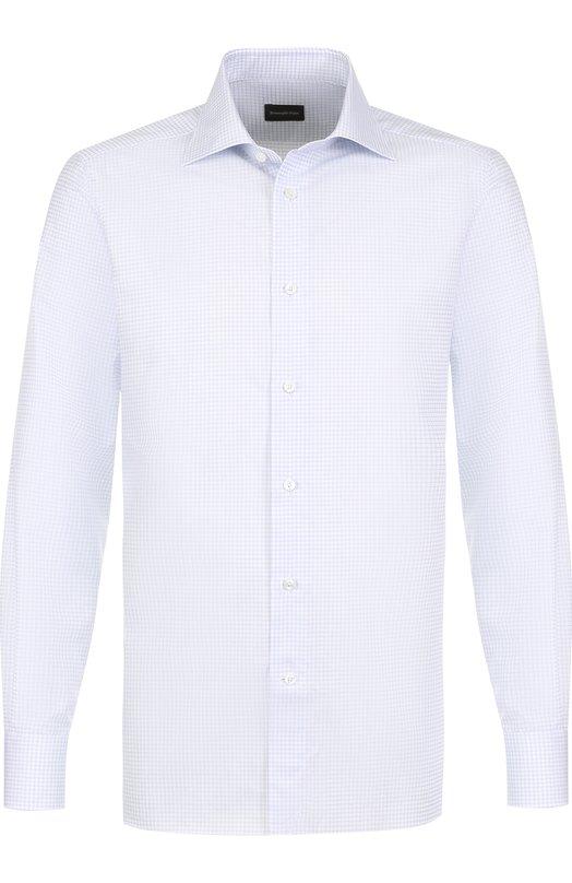 Купить Хлопковая сорочка с воротником акула Ermenegildo Zegna, 301584/9MS0BR, Румыния, Голубой, Хлопок: 100%;
