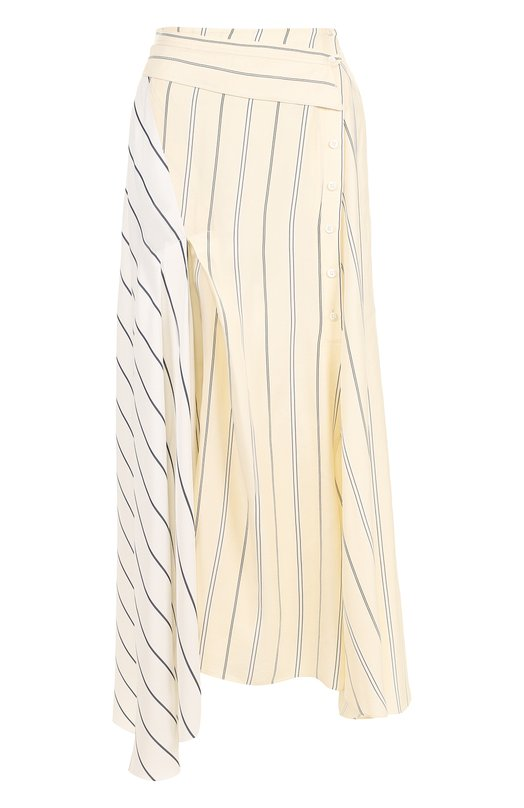 Купить Юбка-миди асимметричного кроя из вискозы 3.1 Phillip Lim, E182-3199SSF, Китай, Бежевый, Вискоза: 63%; Лиоселл: 47%; Ацетат: 37%; Подкладка-шелк: 100%;