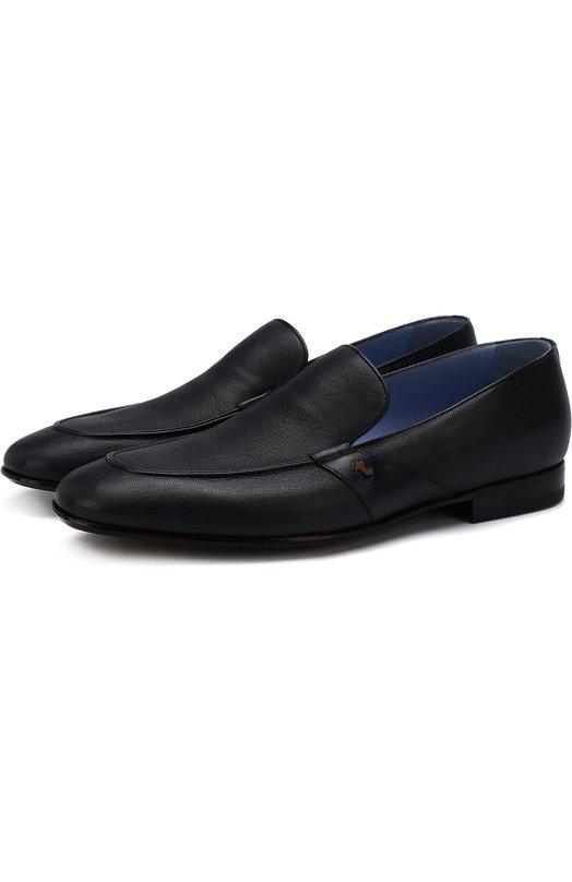 Купить Классические кожаные лоферы A. Testoni, M47428P0H/94253QMT, Италия, Темно-синий, Подошва-кожа: 95%; Подошва-резина: 5%; Кожа натуральная: 100%; Стелька-кожа: 100%;
