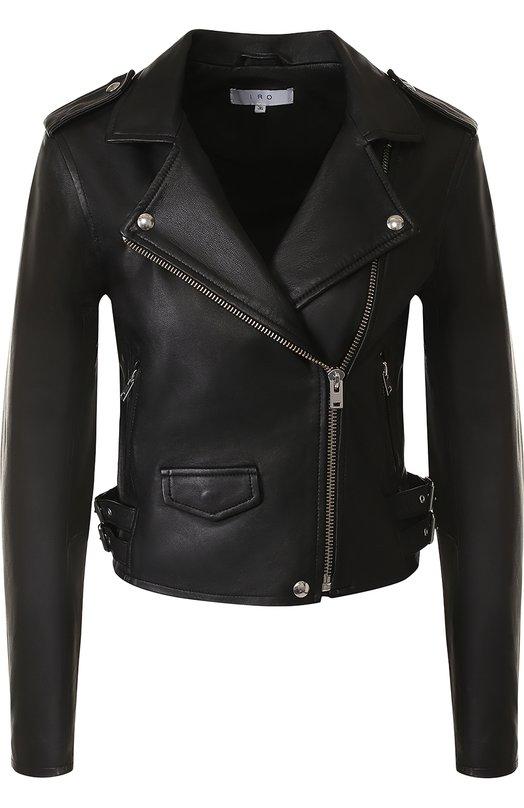 Купить Укороченная кожаная куртка с косой молнией Iro, 18SWP09ASHVILLE, Китай, Черный, Кожа натуральная: 100%; Подкладка-вискоза: 100%;