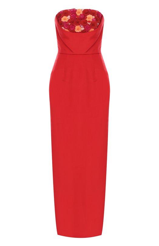 Купить Приталенное шелковое платье-бюстье с фактурной отделкой Oscar de la Renta, 17FE012FAI, США, Красный, Шелк: 100%; Подкладка-шелк: 100%;