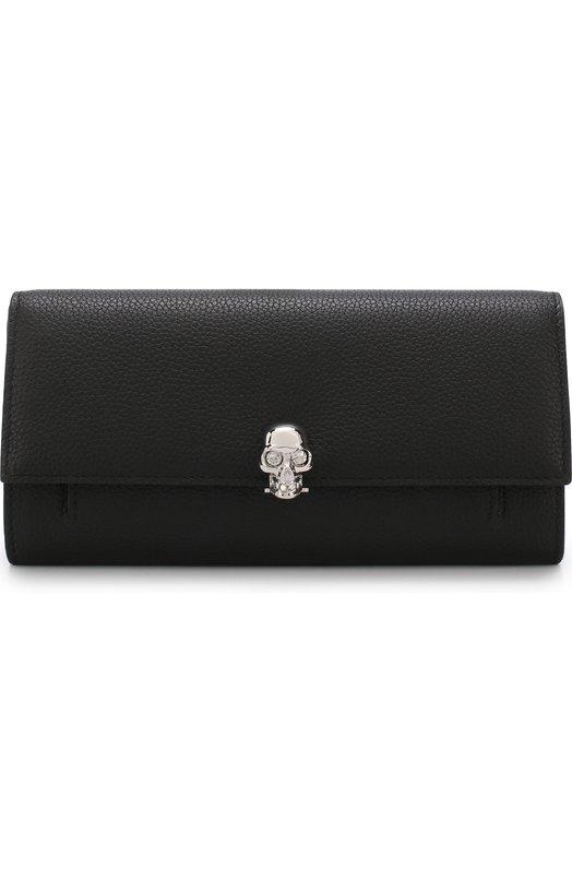 Купить Кожаное портмоне с цепочкой Alexander McQueen, 414659/BPT0I, Италия, Черный, Кожа натуральная: 100%;